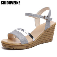 f42f4cdda9 2018 Wedges Platform Women Sandals Fashion Quality Comfortable Bohemian  Women Sandals For Lady Shoes high heel Gold Silver Shoes