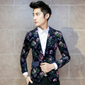 Korean Design Mens Floral Blazer Polka Dot Slim Fit Blazers Jacket Men One Button blazer masculino Casual Masculine Jacket 5XL