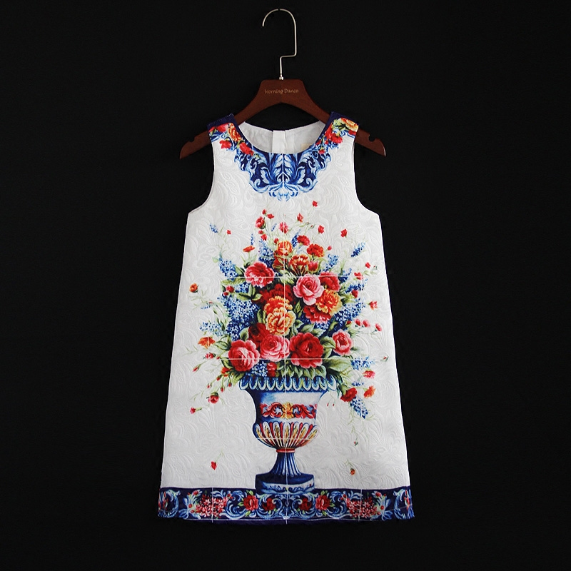Autumn family look clothes white vase print party dress women children Sleeveless mom daughter mini me dress mama and girl dress sweet round collar flower and leaves print sleeveless dress for women