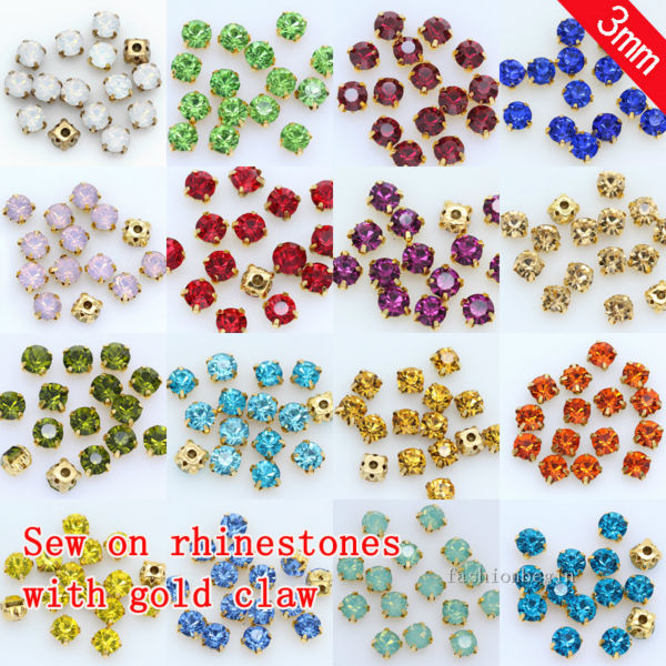 200p 3mm Color Sewing On crystal glass Rhinestones Montees Gold claw base  Craft Gems wedding costume Dress jewelry making beads ba0b1cbddc30