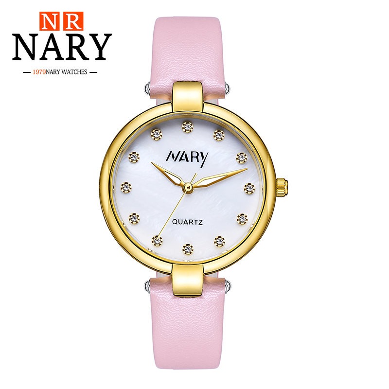 Relogio feminino Women Watches NARY Luxury Brand Girl Quartz Watch Casual Leather Ladies Dress Watches Women Clock Montre Femme sinobi ceramic watch women watches luxury women s watches week date ladies watch clock montre femme relogio feminino reloj mujer