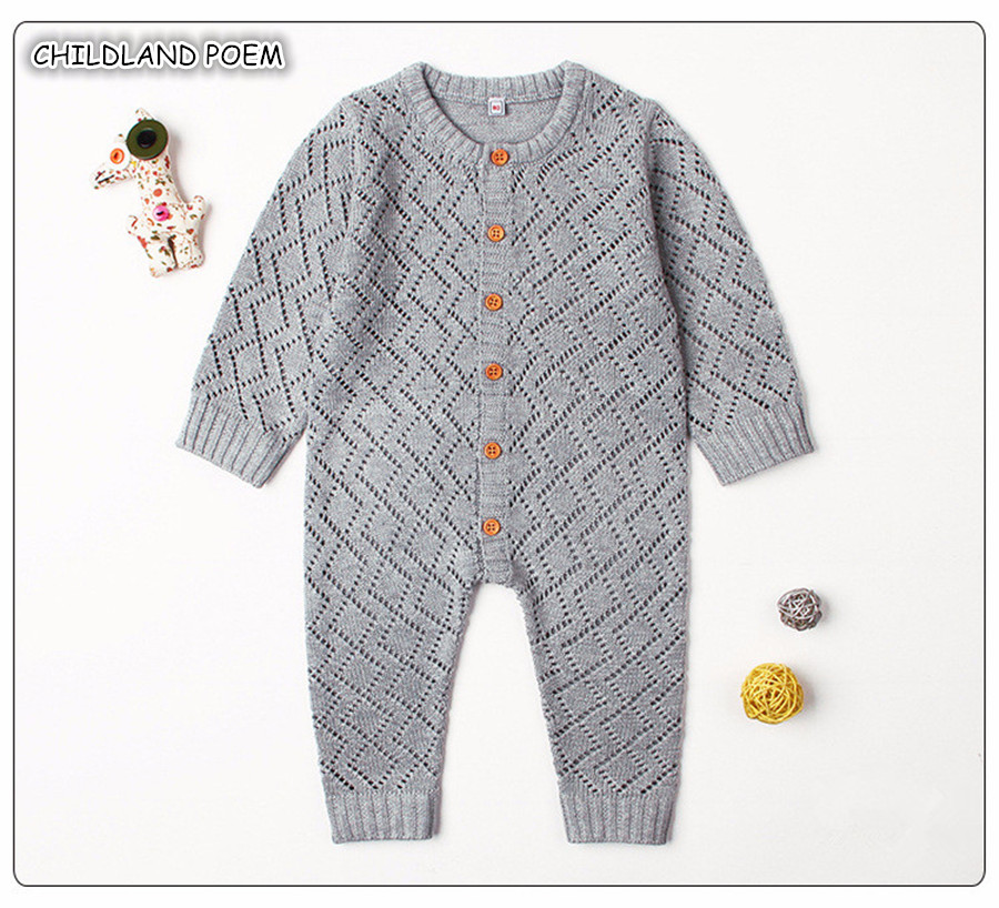 New Born Baby Clothes Autumn Newborn Baby Boy Girl Clothes Infant Baby Knitted   Romper   Girls Jumpsuit Long Sleeve Baby Overalls