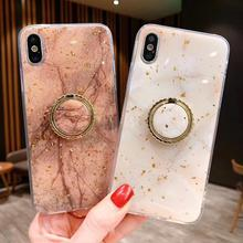 Case For iPhone Xr X Xs Max Cover Korean Glitter Diamond Ring Stand Marble Soft Girly Cases For iPhone X 7 8 Plus 6S Plus Cover girly case for iphone xr x xs max cover korean aurora gradient color dot skin bag cases for iphone 7 8 plus 6s case long chain