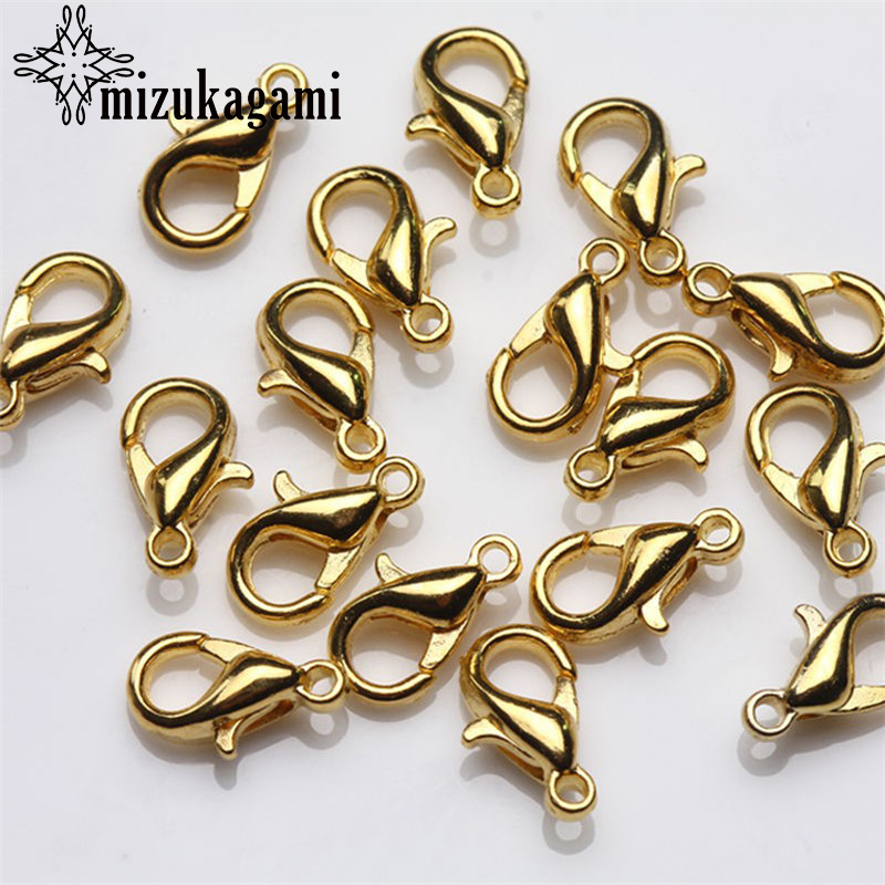Free Shipping 12mm Lobster Clasps 20pcs Silver Gold Ancient Bronze DIY Metal Jewelry Bracelet  Findings