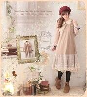 Lolita Cute Mori Girl Japanese Style Cotton Linen Peter Pan Collar Lace Ruffle Chiffon Long Sleeve