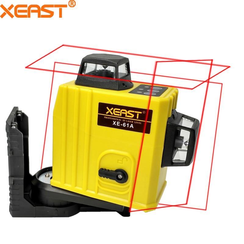XEAST XE-61A 12 линии 360 Самовыравнивающийся Крест линия 3D лазерный уровень красный луч с литиевая батарея niveau лазерной