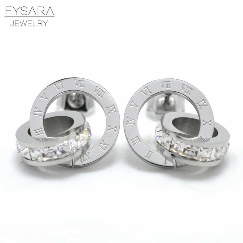 FYSARA Letter Roman Numeral Double Circle Earrings For Women Luxury Brand Love Charm Square CZ Crystals Stud Earrings Jewelry