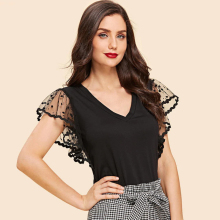 lace short Dot Petal Sleeve sexy thin summer women t shirt V neck vintage mesh black tops tunic 2019 new Fitted korean vogue tee v cut textured slim fitted tee