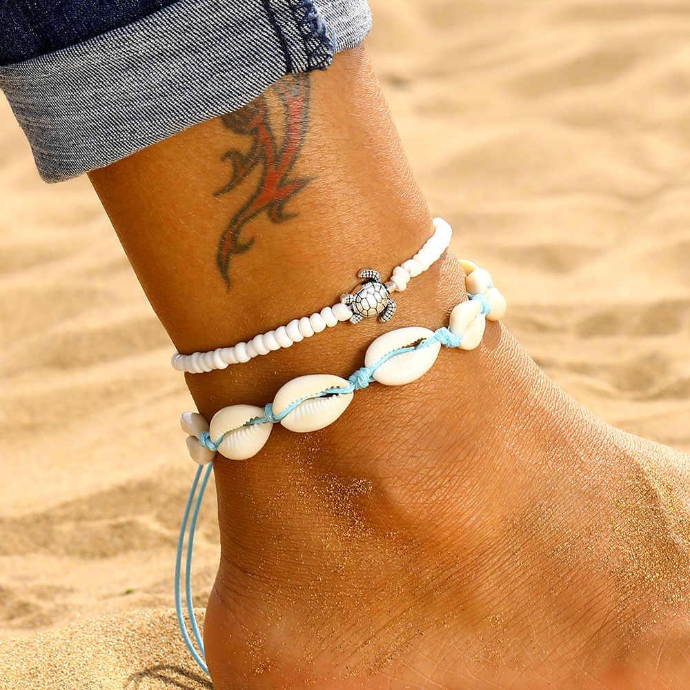 Boho רב שכבתי צב מעטפת חרוזים Anklets נשים ירח שמש בציר חוף חבל קרסול צמיד על רגל קיץ תכשיטי רגל
