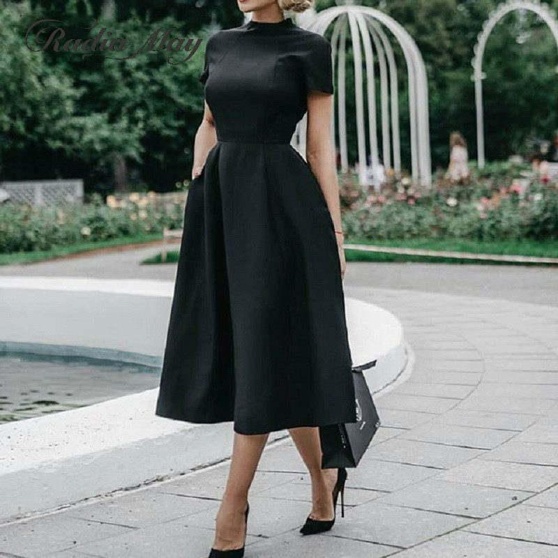 Hepburn Little Black Dresses 2019 Vintage Tea Length Cocktail Party Dress Short Sleeves A-line Satin Homecoming Graduation Gowns