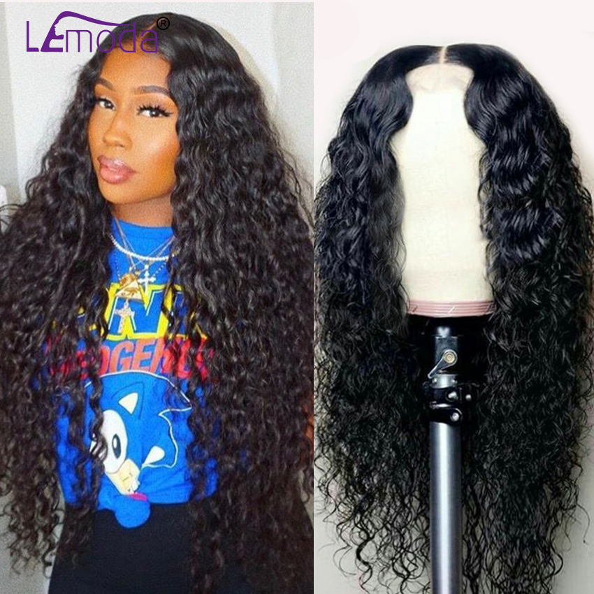 LeModa Malaysian Water Wave Human Hair Wig Glueless Lace Front Human Hair Wig With Baby Hair Pre Plucked Remy Hair 150 Density(China)