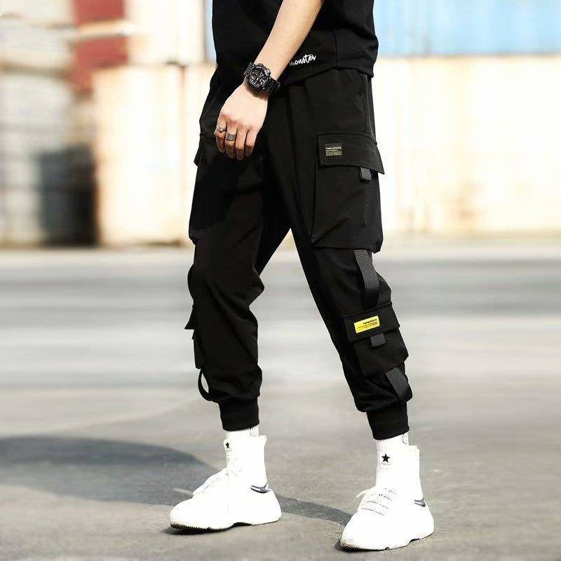Cargo Pants Men Polyester Comfortable Drawstring Joggers Trousers Black White Many Pockets Ankle Banded Male Casual Pants Boys(China)