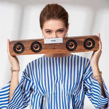 52mm Big Bass Outdoor Bluetooth Speaker Wireless Wooden Portable Subwoofer Bookshelf Music Speakers Radio FM Mp3 player Hot Sale