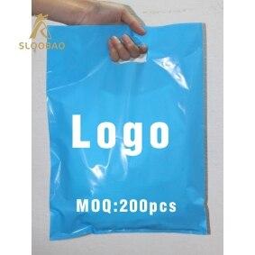 500 pcs 사용자 정의 로고 쇼핑 핸들 플라스틱 가방/선물 플라스틱 포장 가방 의류/의류/선물 인쇄 로고 프로 모션 바-에서선물가방&포장용품부터 홈 & 가든 의  그룹 1