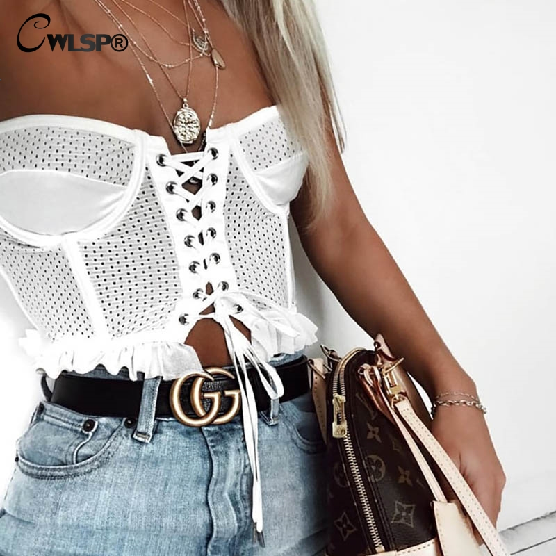 CWLSP New Fashion White Lace Up Tanks Top Women 2018 Summer Sexy Tops Hollow Out Female Crop Tops Vrouwen QA2364