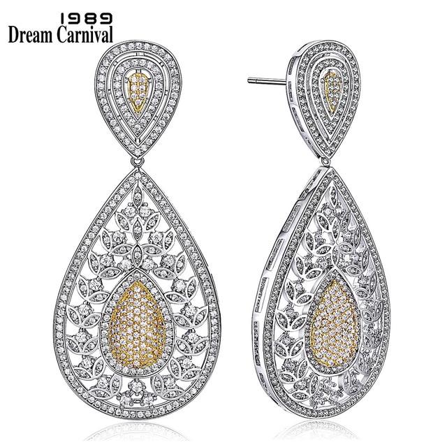DreamCarnival 1989 Big Teardrop shape 2-Tone Gold Color Earrings Luxury Clear Cubic Zirconia Women Big Dangling earrings SE05321