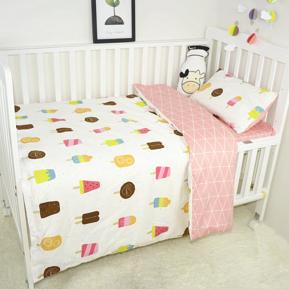 New Baby Bedding Set Cotton Print Breathable Soft Infant Newborn Crib Duvet Cover Crib Flat Bed Sheet Pillowcase Baby Bed Set image