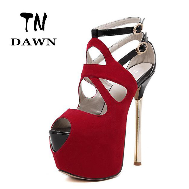 2017 hot women metal strappy pumps sandals high heels wedding shoes stiletto ladies pointy toe high heeled ankle strap shoes Hot Sexy Peep Toe Platform Pump Super High Heels 16CM Stiletto Heels Party Dress Shoes Women Ankle Strap Sandals Female Pumps