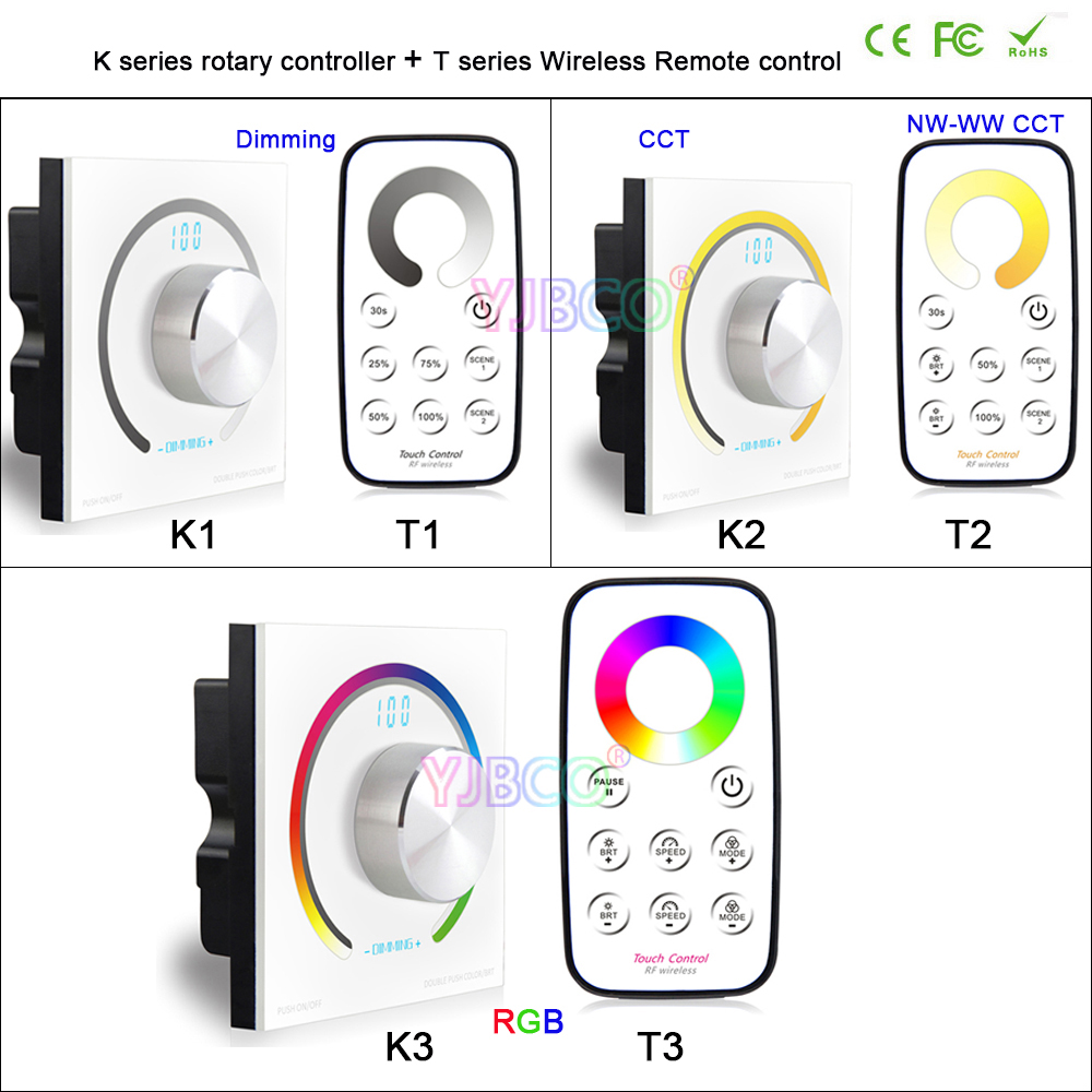 Bincolor Switch knob Wall-mounted single color/CCT/RGB Rotary Dimmer controller & RF Wireless Remote for led stirp,DC12V-24V