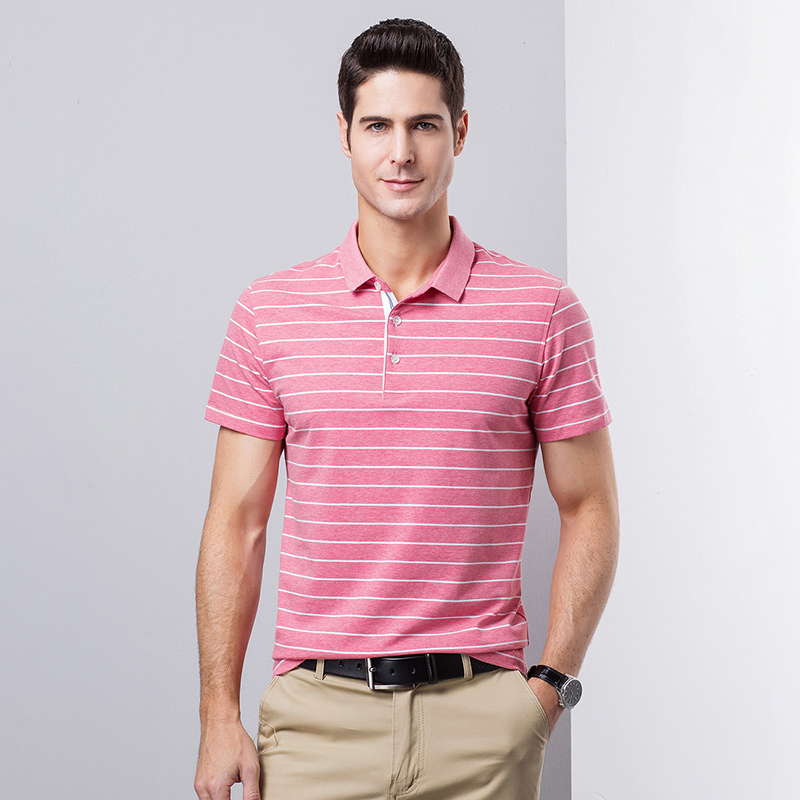 Stripe Men Casual Colored Cotton Striped Short Sleeve   Polo   Shirts Mens Tops Striped Tops Tee