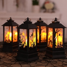 1pc Halloween Artificial Flame Decor Pumpkin Decoration Witch Bar Scene Layout Oil Lamp Home