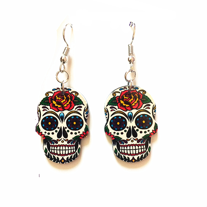 Skull Earrings Silver-Hooks Celebrate-Mexican Day-Of-The-Dead Halloween Acrylic Cute