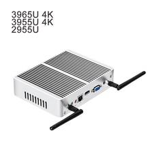 Fanless Mini PC DDR3 RAM 4K Resolution Windows 10 Mini Computer Celeron 2955U 3955U 3965U Desktop