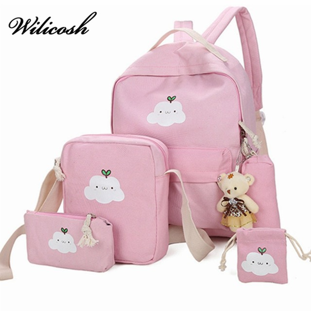 d32a40b205a 5 pcs Sets Backpacks Children School Bags For Canvas Girls Schoolbags  Backpack For Teenagers Shoulder Bag