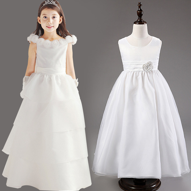 3239eed0453 Red White Pink Sky Blue Light Purple Lavender Ankle Length Long Flower Girl  Dresses