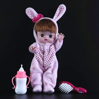 [TOP] Very cute 28cm Reborn Baby Dolls electronic music talking speak doll model Figures bunny suit clothes girl gift