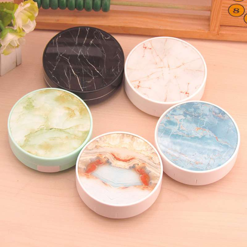 Colorful Marble Style Contact Lenses Case For Container Lens Cleaner Travel Mirror Kit Eyewear Cases