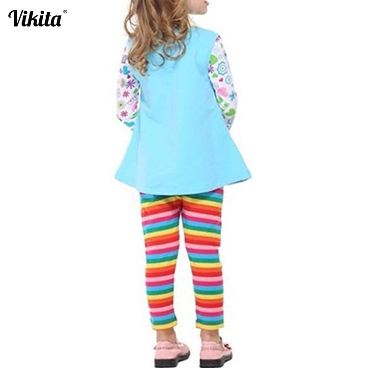VIKITA Brand Girls Leggings Children Rainbow Pants Children Leggings Trousers for Girls Cartoon Girls Striped Leggings F5508 girls slant pocket detail striped pants with belt