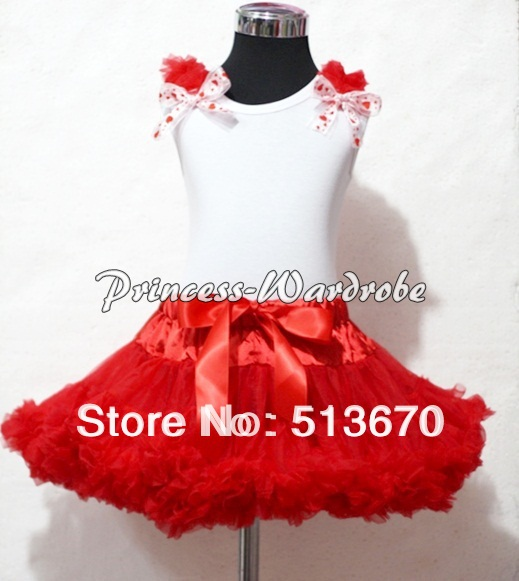 ФОТО white tank top & red ruffles & red sweet heart ribbon with red pettiskirt mamg01