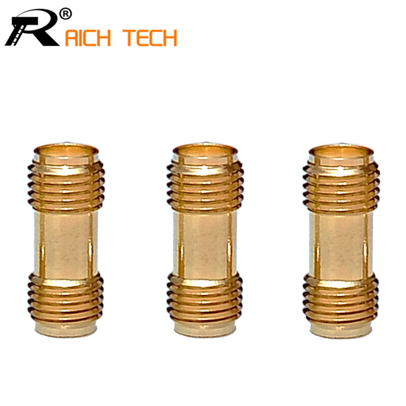 Golden Color High Quality RF Connector SMA Female to SMA Female For Two Way Radio SMA-F to SMA-F Antenna Adaptor 3pcs/lot sale 10pcs adapter sma female to n type female flange panel connector wifi antenna high quality mini jackplug wire connector