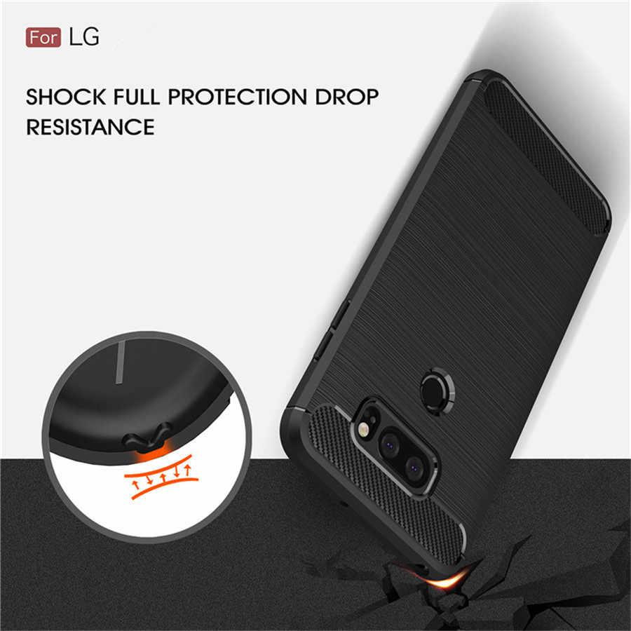 Antiurto Cassa Del Telefono Per LG V30 Custodie Copertura LG V40 G7 G6 Q7 Q6 K8 K10 2018 Q Dello Stilo di Carbonio fibra di TPU Del Silicone Del Telefono Caso Della Parte Posteriore