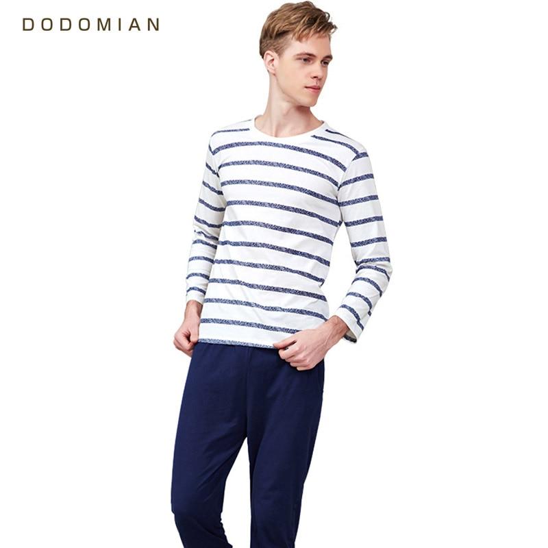 Men Pajamas Cotton Blue Striped Female Sleepwear Spring And Fall Nighties for Men Sleep Shirt+ Pajama Pants High Quality Clothes