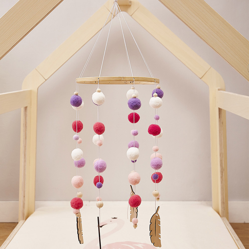 Baby Nordic Style Rattles Mobile Wooden Beads Wind Chimes Bell Toys for Kids Room Bed Hanging Decor Tent Decor Photography Props