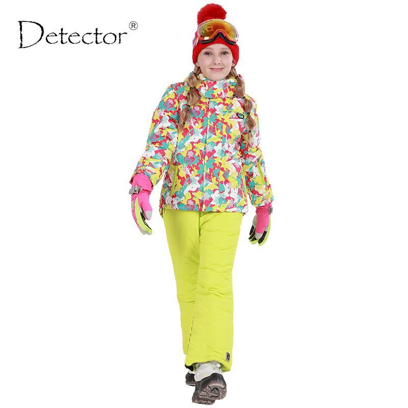 Detector Winter Girls Ski Set Outdoor Windproof Waterproof Snowboard Fleece Outerwear for Children Warm Girl Ski Jacket