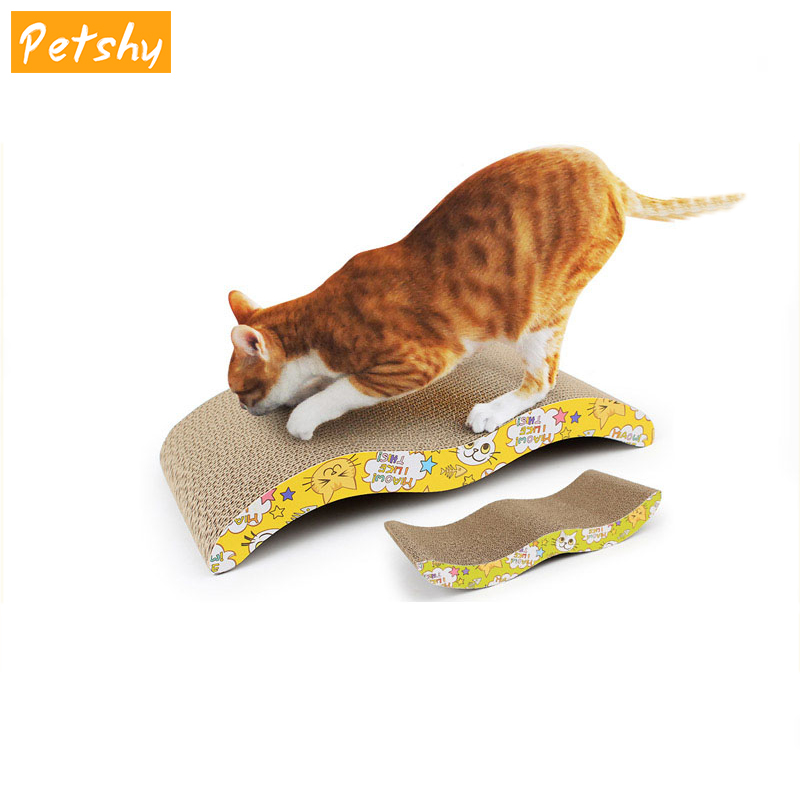 Petshy Cat Scratcher Corrugated Scratching Board Pad Kitten Claws Care Interactive Toys Cat Toy With Catnip Products For Cats