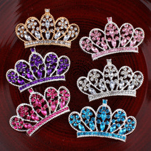 2017 new arrival Girls Luxury Rhinestone Buttons Crystal Crown DIY Flatback for headband children hair accessories 120ps/lot