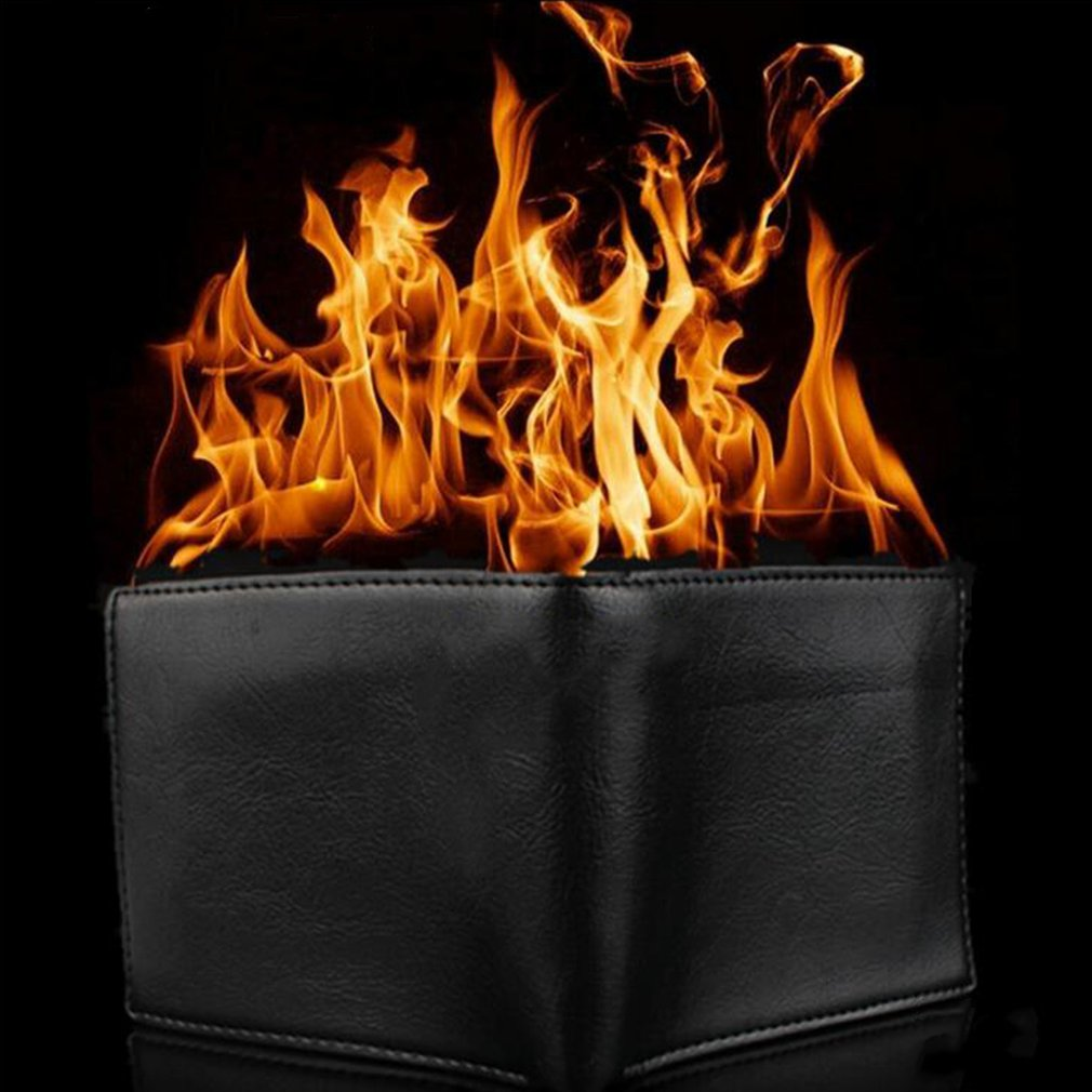 Novelty Magic Trick Flame Fire Wallet Big flame Magician Trick Wallet Stage Street Show Fashion Rubber Bifold Wallet Funny