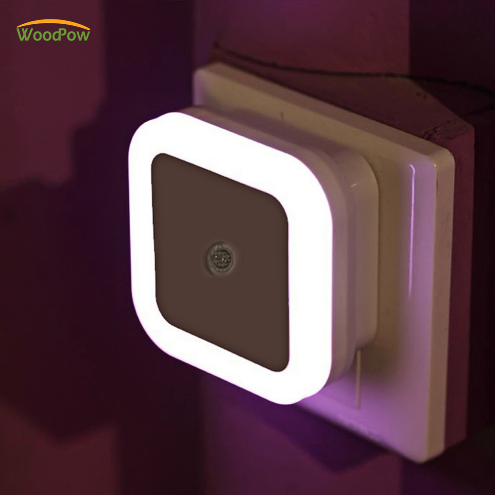 WoodPow Mini Auto LED Night Light Sensor EU US Plug Colors Novelty Bed Lamp For Baby Bedroom Gift Romantic Colorful Lights