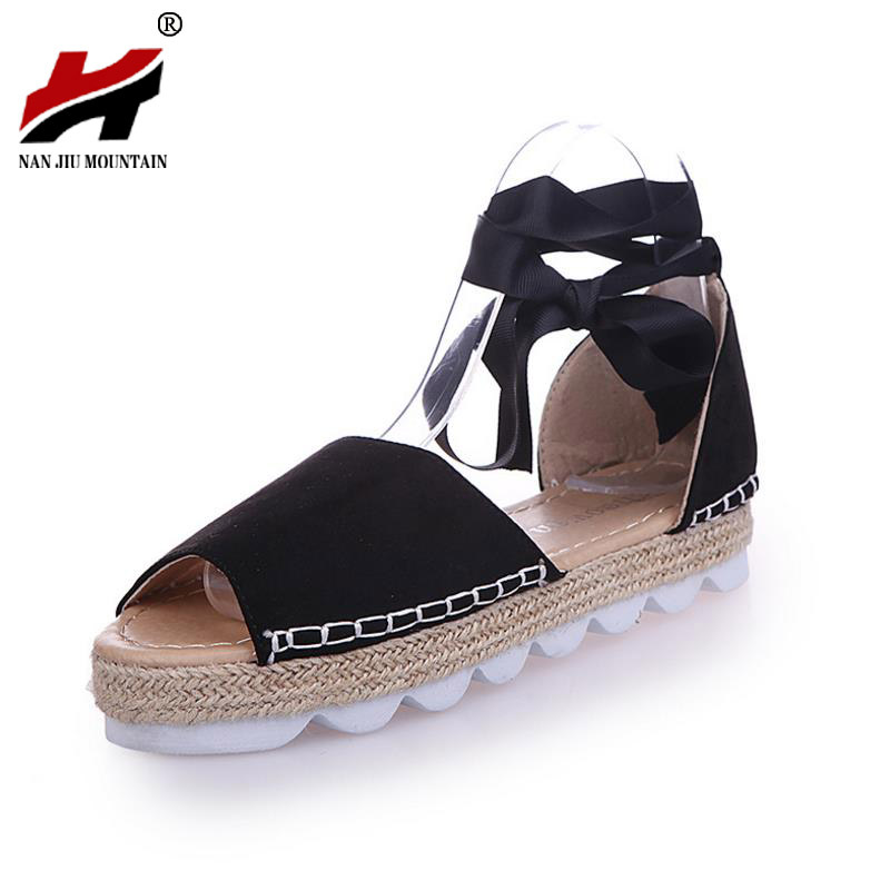 Large size 35-44 Women Gladiator Sandals Shoes Woman Summer Sandals Flats Casual Solid Riband Tenis Feminino gladiator sandals 2017 fock women summer comfort flats fashion creepers platform casual shoes woman 2 colors