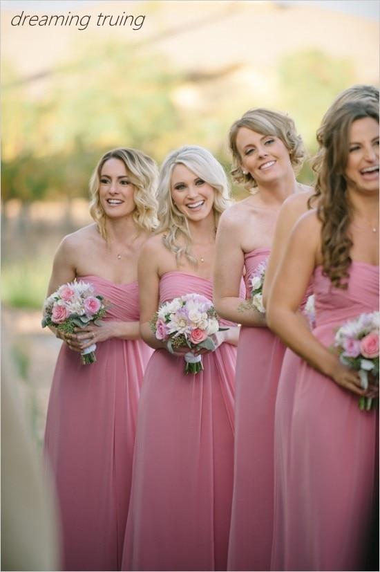 Robe Demoiselle D'honne 2019 Boho Pink   Bridesmaids     Dresses   Elegant Chiffon Long Women   Dress   For Wedding Party   Dress
