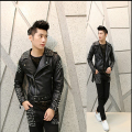 M-XL!!!! Free Shipping The New Spring 2015 Men's Wear Brand Men's Fashion Personality rivet Nightclub Man Leather Jacket