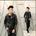 M-XL!!!! Free Shipping The New Spring 2015 Men's Wear Brand Men's Fashion Personality rivet Nightclub Man Leather Jacket