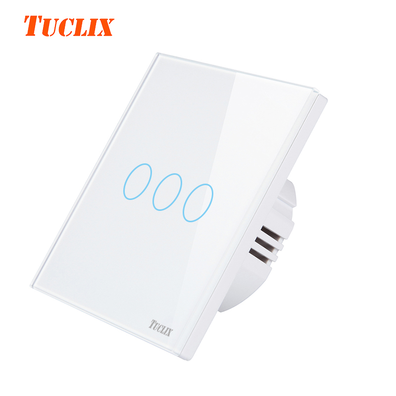TUCLIX EU/UK Touch Switch 3 Gang 1 Way,Wall Light Touch Screen Switch,Crystal Glass Switch Panel TU-TS-103white eu uk standard touch switch 3 gang 1 way crystal glass switch panel remote control wall light touch switch eu ac110v 250v