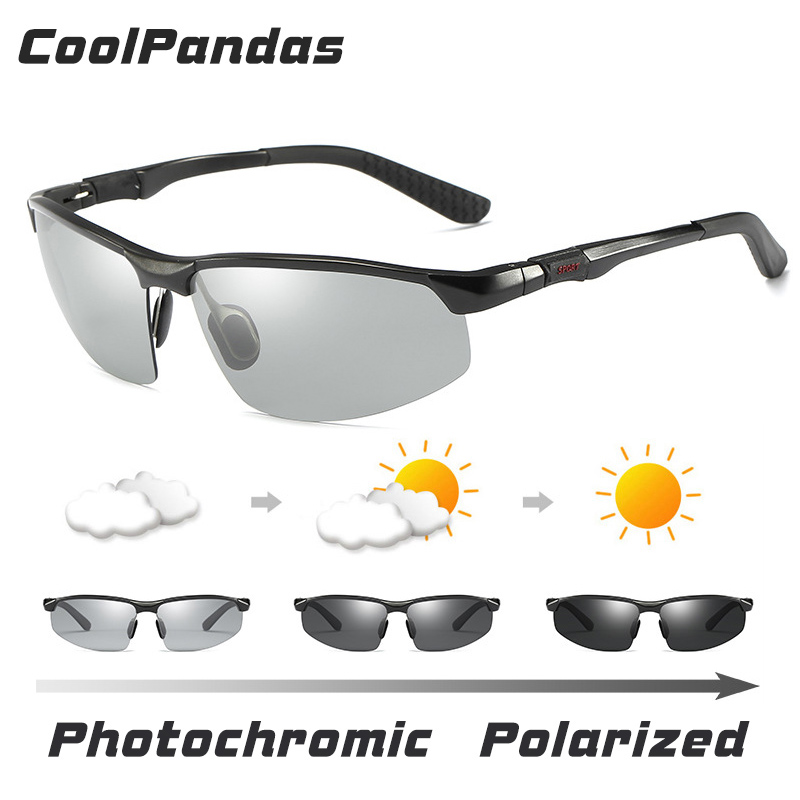 Mens with Sport LOGO Polarized Photochromic Sunglasses All weather Discoloration HD Professional driving Sun glasses men