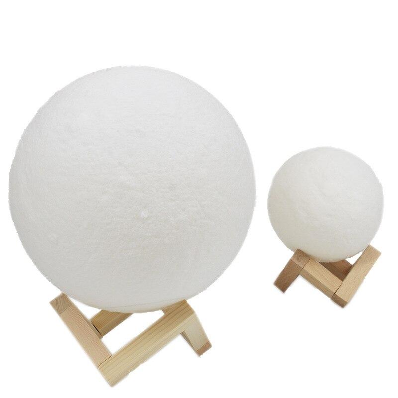 Перезаряжаемая лампа с 3D принтом в виде Луны, 2 цвета, сенсорный выключатель для спальни, книжный шкаф, Ночной светильник, домашний декор, креативный подарок