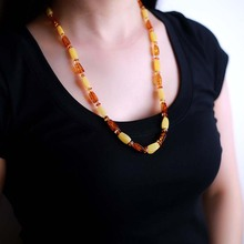 Pure natural Baltic bees men and women sweater chain long section of chicken oil yellow multi-color mixed wild amber necklace цена 2017
